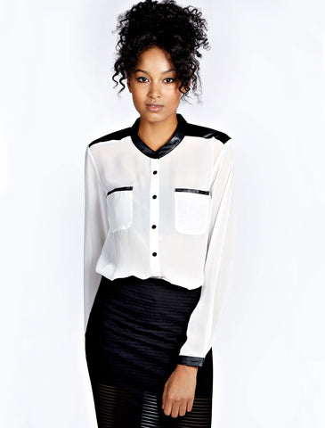 White Long Sleeve Contrast PU Leather Blouse