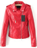 Red Lapel Long Sleeve Zipper Leather Jacket