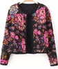 Black Long Sleeve Floral Crop Jacket