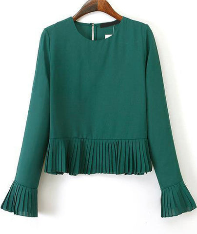 Green Long Sleeve Pleated Crop Blouse
