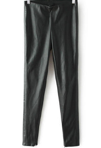 Black High Waist Leather Pant