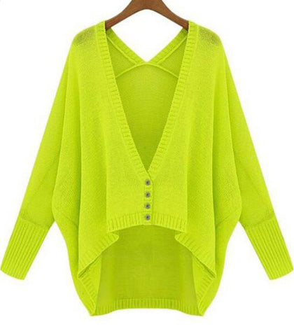 Green V Neck Batwing Long Sleeve Loose Cardigan