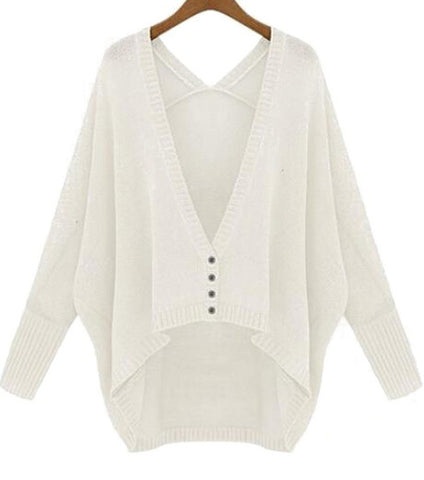 White V Neck Batwing Long Sleeve Loose Cardigan
