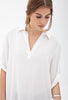 White Lapel Half Sleeve Loose Dipped Hem Blouse