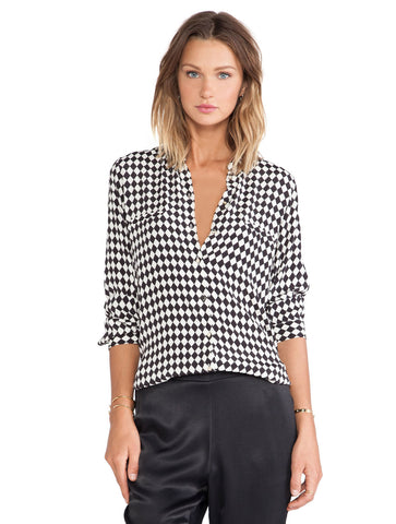 Black Long Sleeve V Neck Diamond Print Blouse
