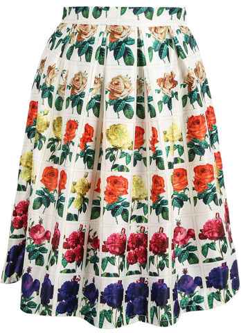 White Rose Print Pleated Skirt