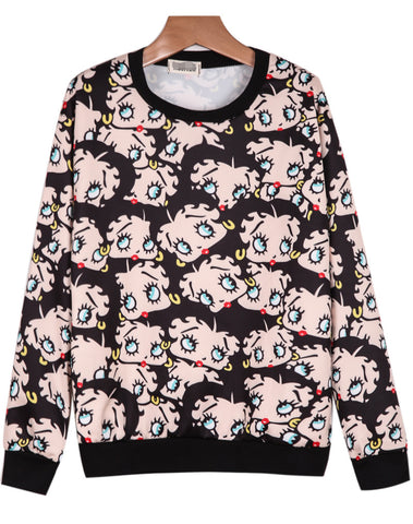 Black Long Sleeve Cartoon Print Loose Sweatshirt