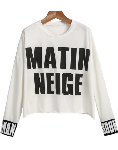 White Long Sleeve MATIN NEIGE Print Sweatshirt