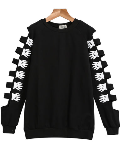 Black Hollow Long Sleeve Floral Sweatshirt