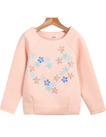 Pink Long Sleeve Rhinestone Loose Sweatshirt