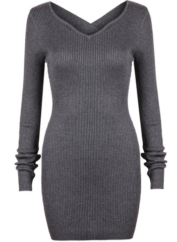 Grey Criss Cross Long Sleeve Bodycon Dress