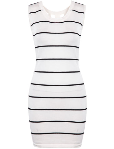 White Sleeveless Striped Hollow Bodycon Dress