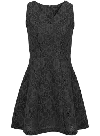 Black V Neck Sleeveless Slim Lace Dress