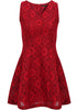 Red V Neck Sleeveless Slim Lace Dress