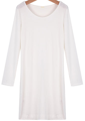White Round Neck Long Sleeve Loose Blouse
