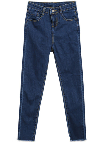 Blue Pockets Fringe Denim Pant