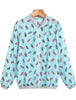 Blue Long Sleeve Pineapple Print Jacket