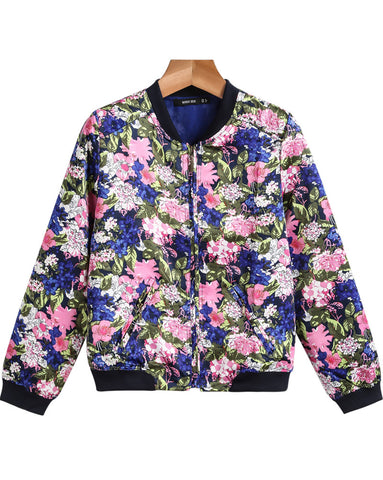 Purple Long Sleeve Floral Pockets Jacket