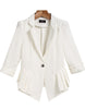 White Notch Lapel Fitted Ruffle Blazer