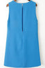 Blue Sleeveless Slim Split Tank Dress