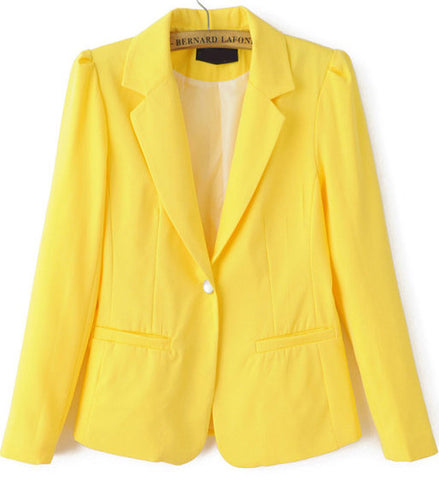 Yellow Notch Lapel Long Sleeve Fitted Blazer