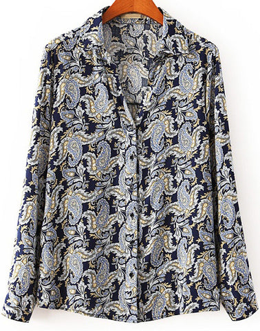 Navy Lapel Long Sleeve Cashews Print Blouse