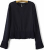 Navy Long Sleeve Pleated Crop Chiffon Blouse