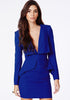 Blue V Neck Long Sleeve Slim Bodycon Dress