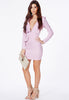Purple V Neck Long Sleeve Slim Bodycon Dress