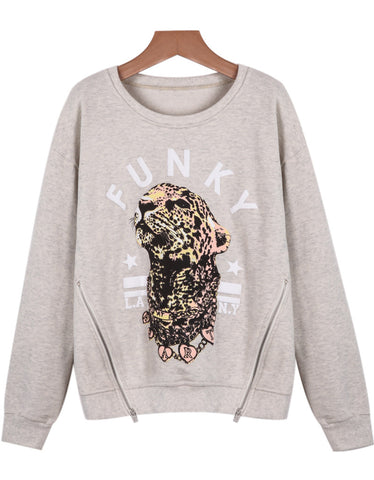 Grey Long Sleeve Leopard Print Loose Sweatshirt