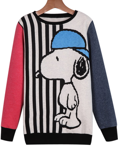 Beige Long Sleeve Snoopy Print Loose Sweatshirt