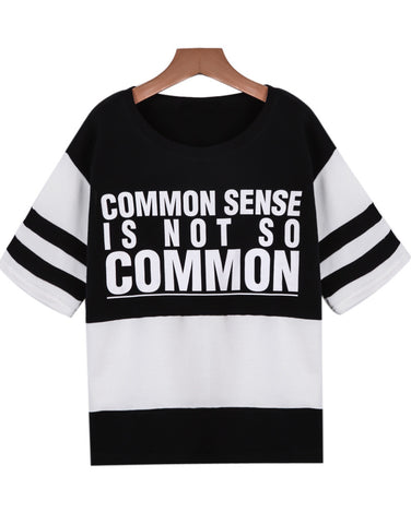 Black Short Sleeve Letters Print Sweatshirt