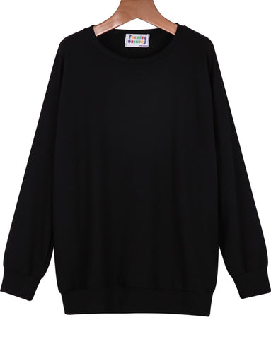 Black Round Neck Long Sleeve Loose Sweatshirt