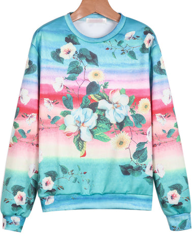Blue Long Sleeve Daisy Print Sweatshirt