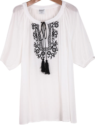 White Short Sleeve Embroidered Loose T-Shirt