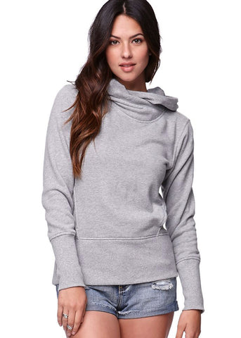 Grey Long Sleeve Hooded Pockets Sweatshirt