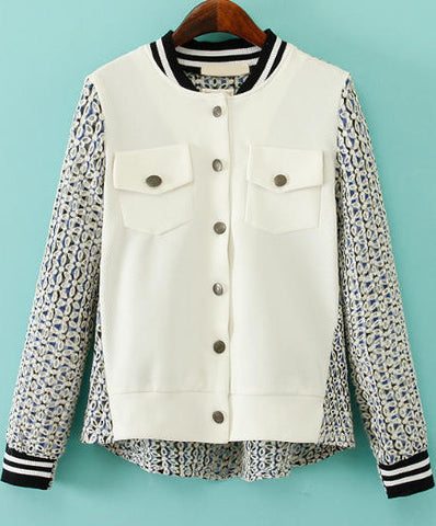 White Long Sleeve Embroidered Hollow Jacket