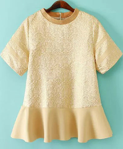 Gold Short Sleeve Embroidered Ruffle Dress