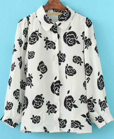 White Lapel Long Sleeve Rose Print Blouse