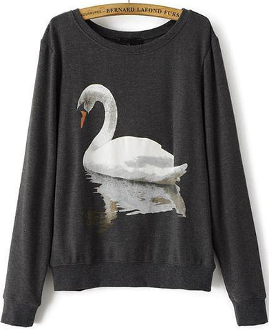 Grey Long Sleeve Swan Print Loose Sweatshirt