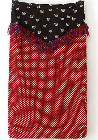 Red Polka Dot Tassel Cats Print Skirt