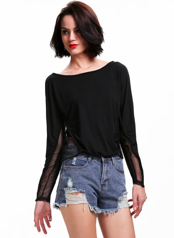 Black Contrast Sheer Mesh Yoke Loose Sweatshirt