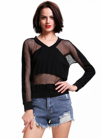 Black V Neck Sheer Mesh Yoke Loose Sweatshirt