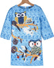 Blue Half Sleeve Owl Embroidered Slim Dress
