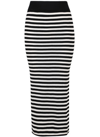 Black White Striped Split Skirt