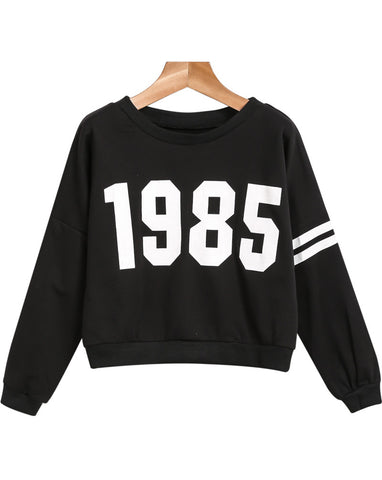 Black Long Sleeve 1986 Print Loose Sweatshirt