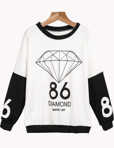 White Long Sleeve Diamond 86 Print Sweatshirt