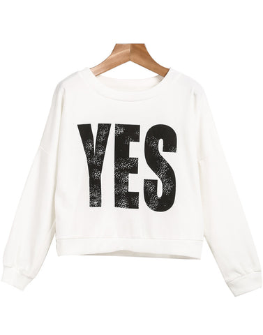 White Long Sleeve YES Print Crop Sweatshirt