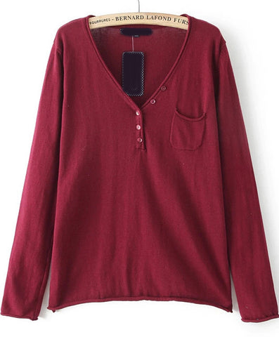 Red V Neck Long Sleeve Pocket Knit Sweater
