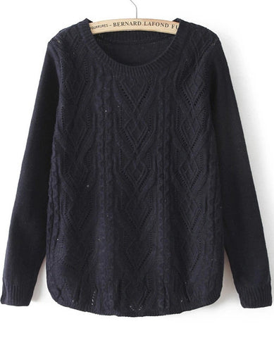 Navy Round Neck Long Sleeve Cable Knit Sweater